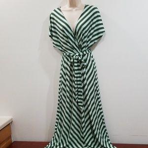 Merona women's XXL/TTG green striped maxi dress